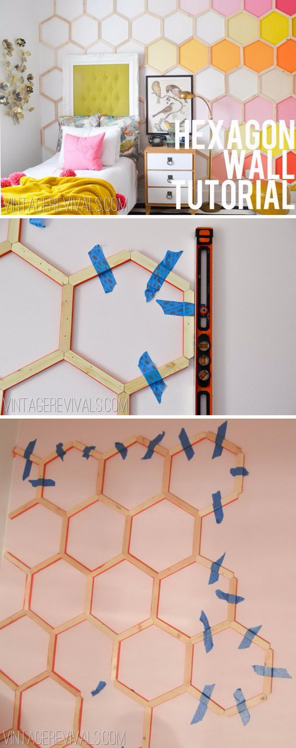 DIY Honeycomb Hexagon Wall Treatment.