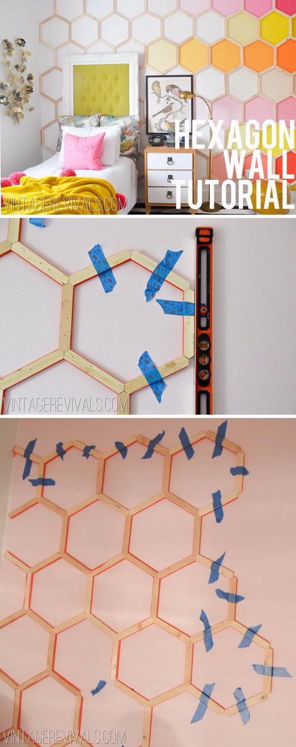 DIY Honeycomb Hexagon Wall Treatment.