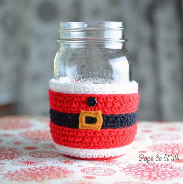 Crochet Santa Claus Mason Jar Cosy.