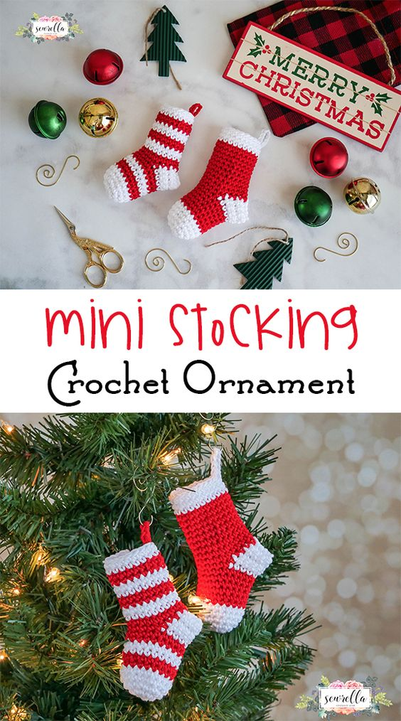 Crochet Mini Stockings Ornament Free Pattern.