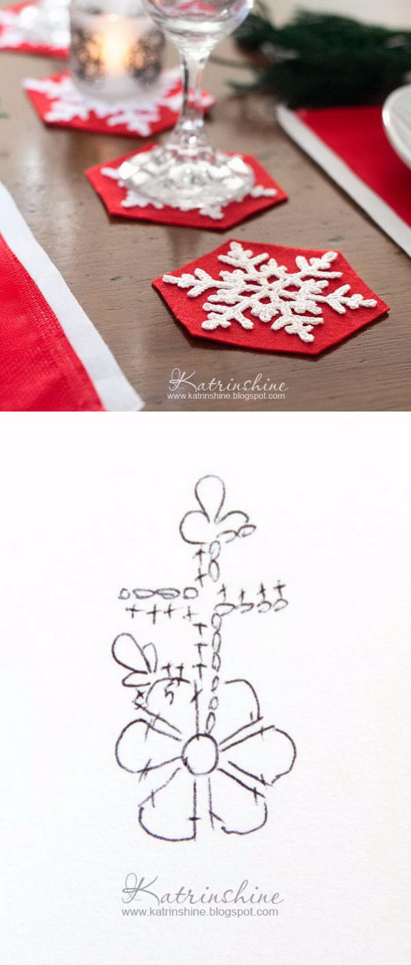Crochet Snowflakes Coasters For Christmas Table Decor.