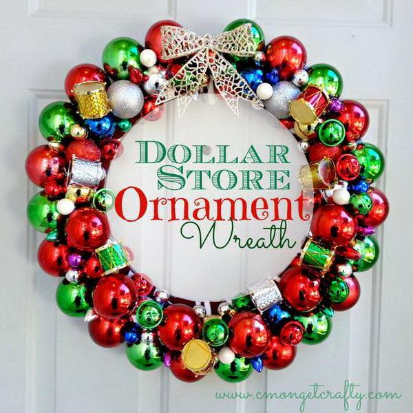 DIY Dollar Store Ornament Wreath.
