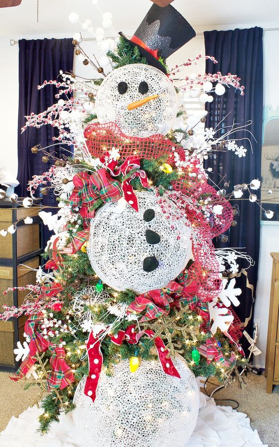 diy snowman christmas tree decoration