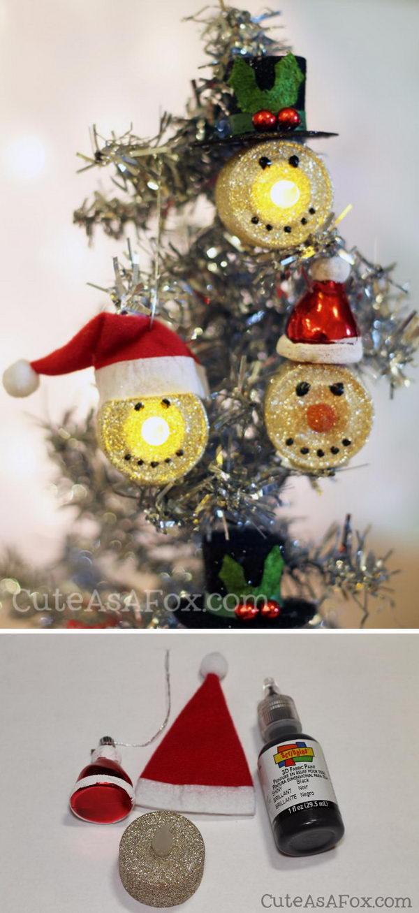 DIY Snowman Tea Light Ornaments.
