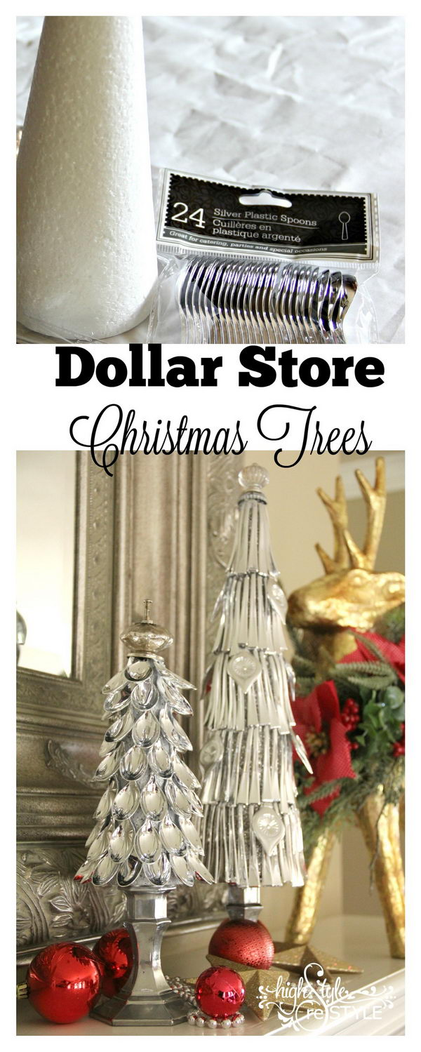 Dollar Store Silver Spoon Christmas Trees.
