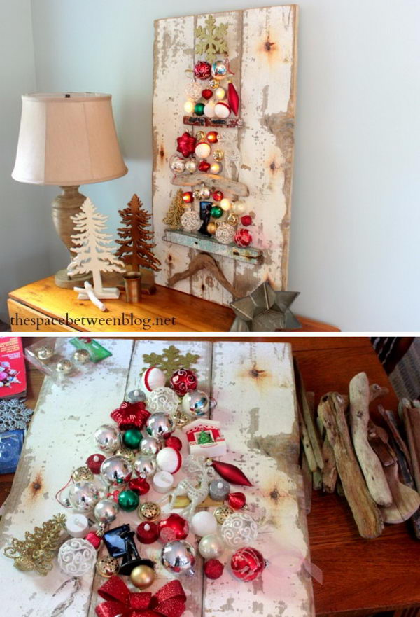 rustic christmas tree craft using driftwood and ornaments