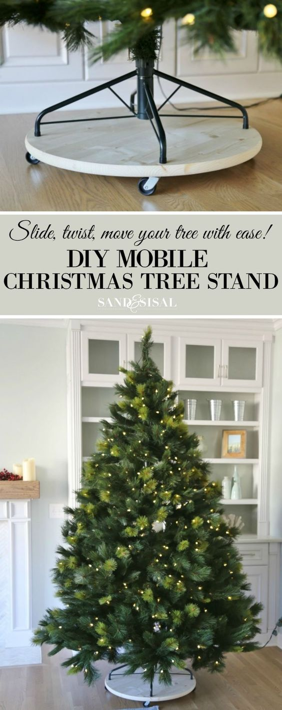 diy mobile christmas tree stand