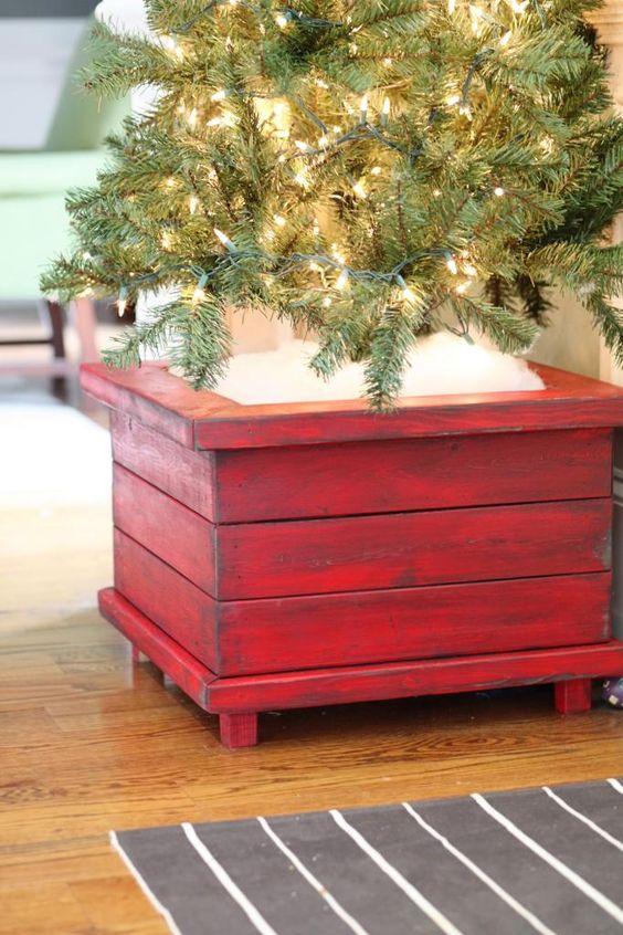 DIY Wood Christmas Tree Planter.