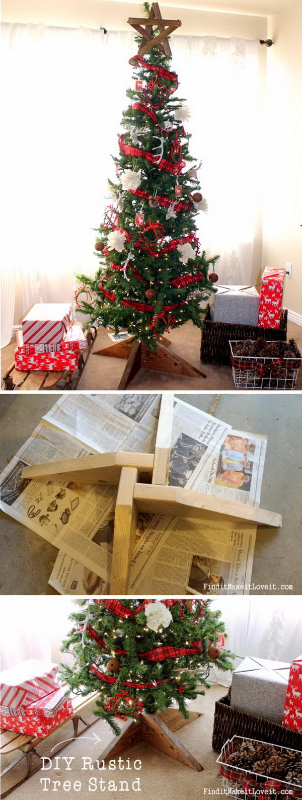 DIY Rustic Wood Tree Stand
