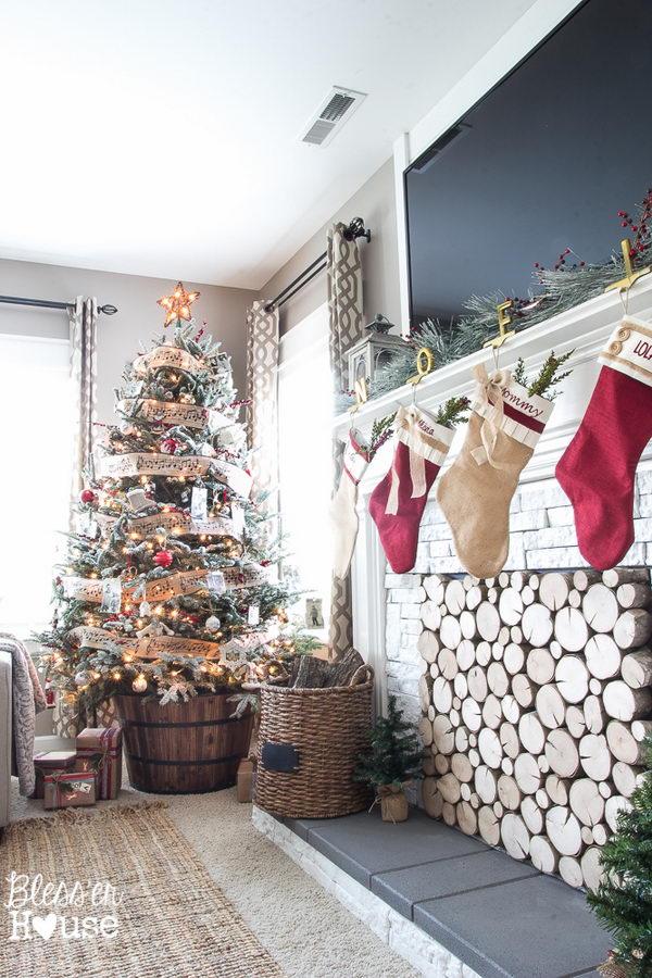 Wood Barrel Christmas Tree Stand.