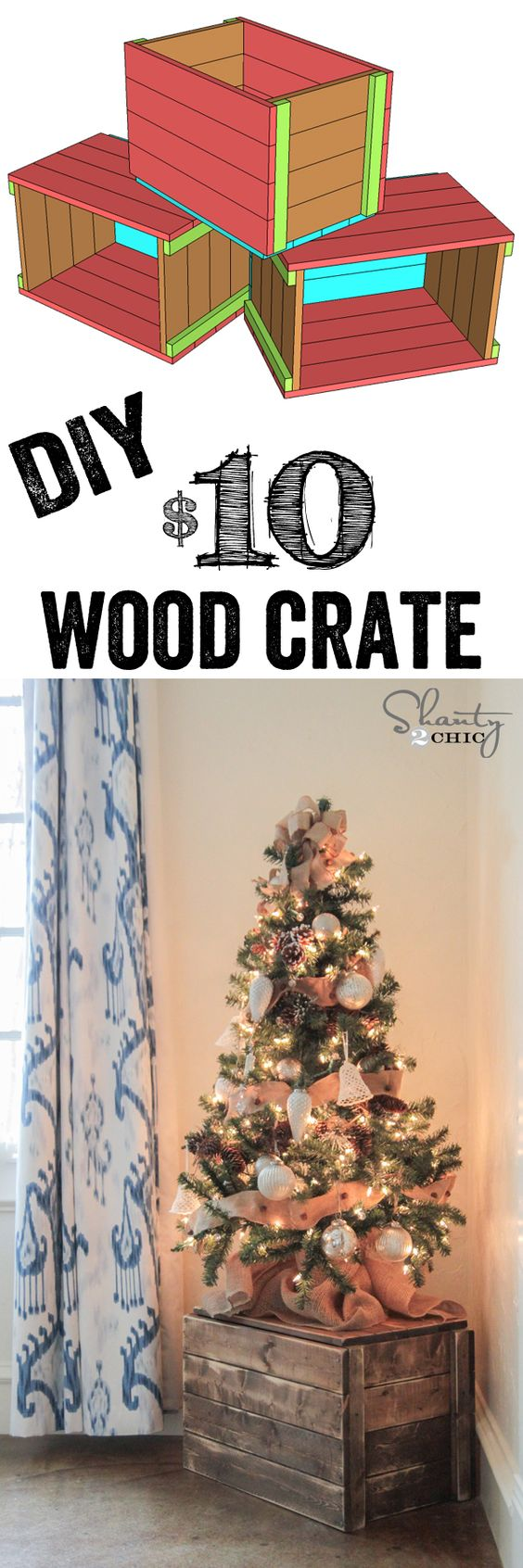 DIY Crate Christmas Tree Stand.