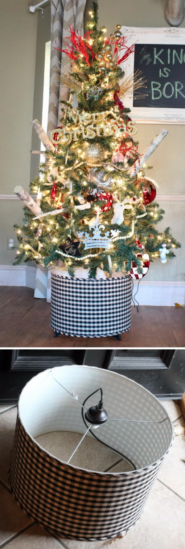 Black And White Gingham Drum Light Fixture Christmas Tree Stand