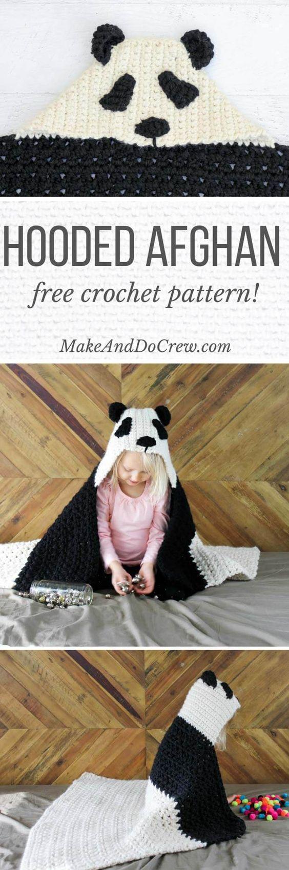 Free Crochet Panda Hooded Baby Afghan Pattern.