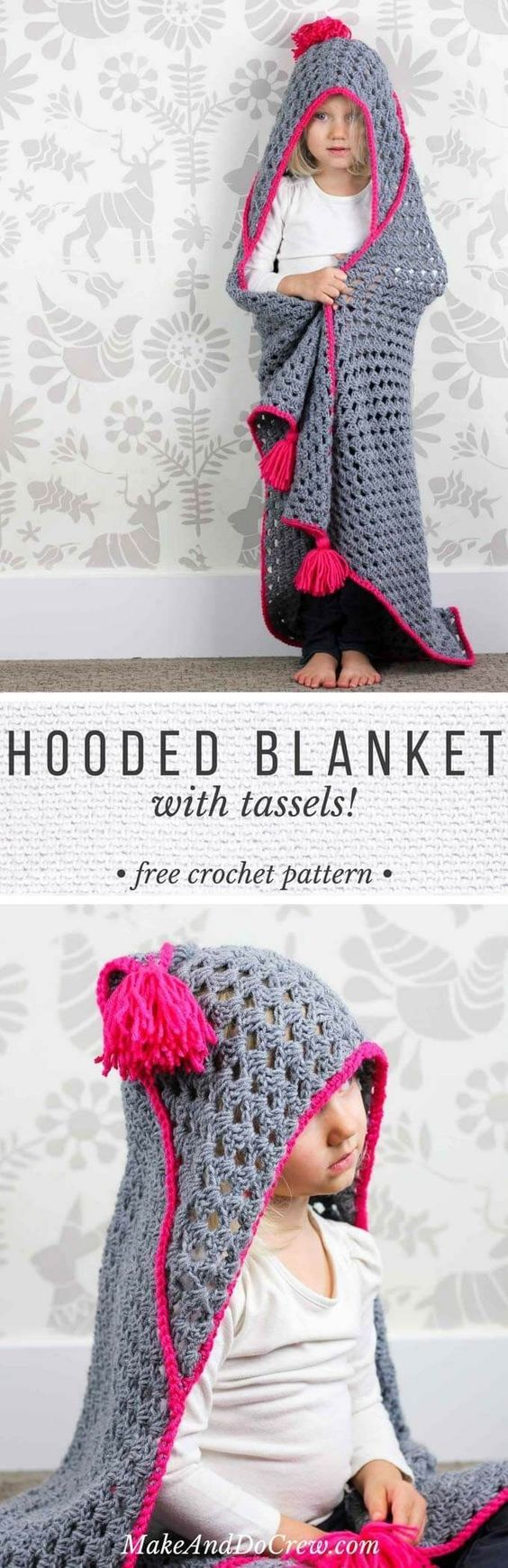 Modern Crochet Hooded Baby Blanket with Free Pattern.