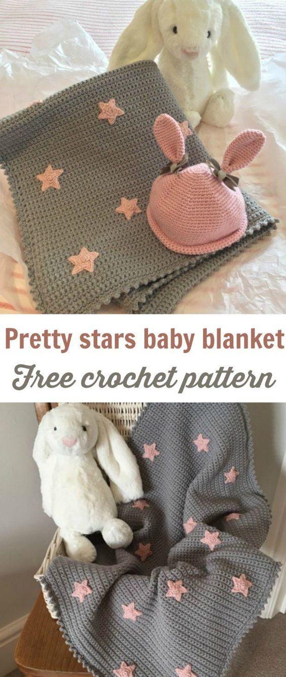 Free Baby Blanket Crochet Pattern With Cute Stars.