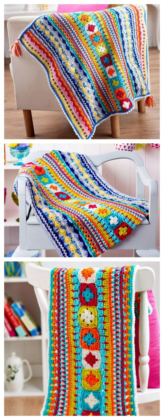 Free Sampler Blanket Crochet Pattern.
