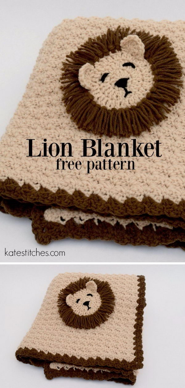 Lion Free Crochet Pattern Blanket.