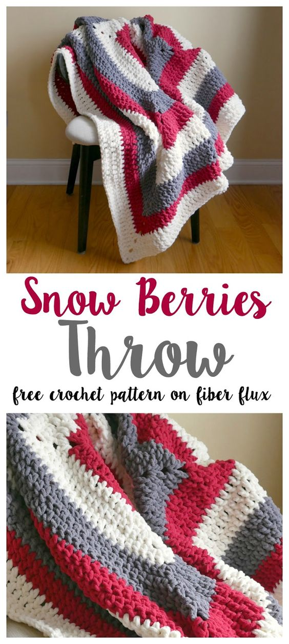 Snow Berries Throw Free Crochet Pattern.