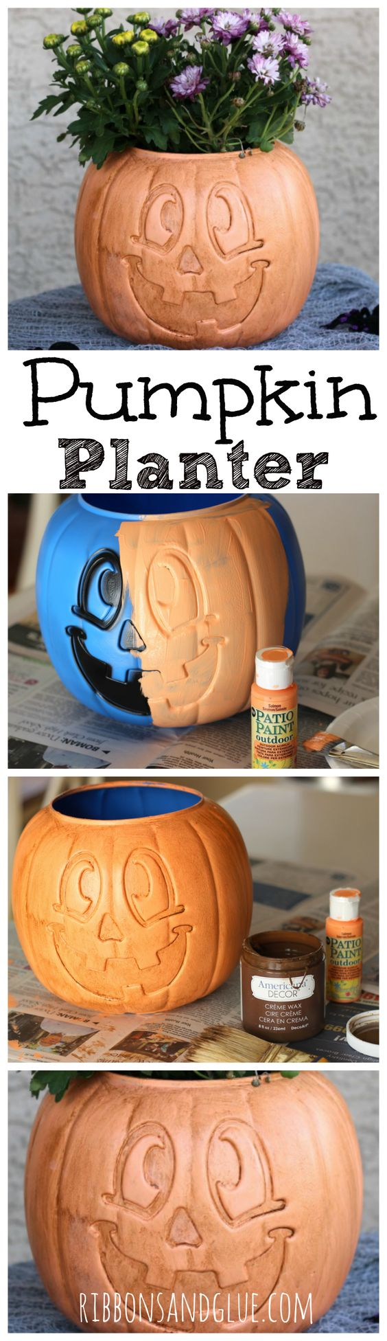 DIY Pumpkin Planter From A Painted Plastic Treat Bucket.