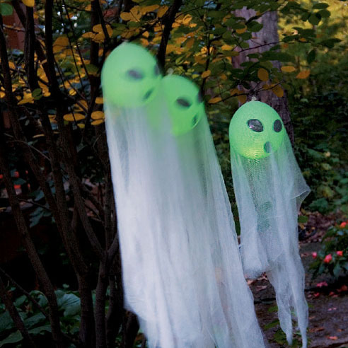 DIY Glow Stick Ghost Balloons.