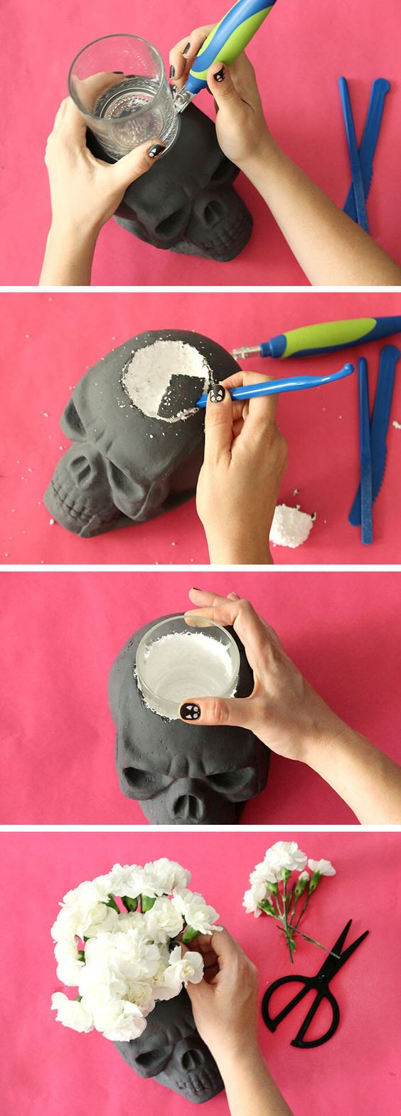 DIY Skull Vase and Halloween Party Decor.