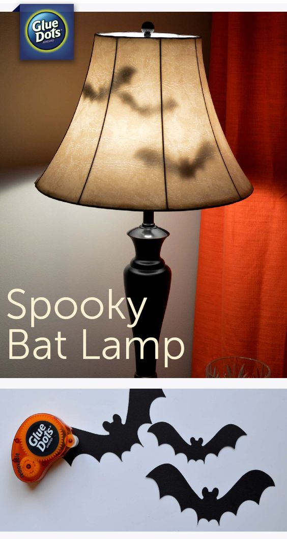 DIY Bat Lamp With Paper Bats And Removable Gluedots.