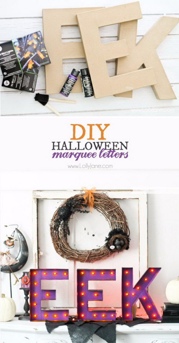 DIY Halloween Marquee Letters.