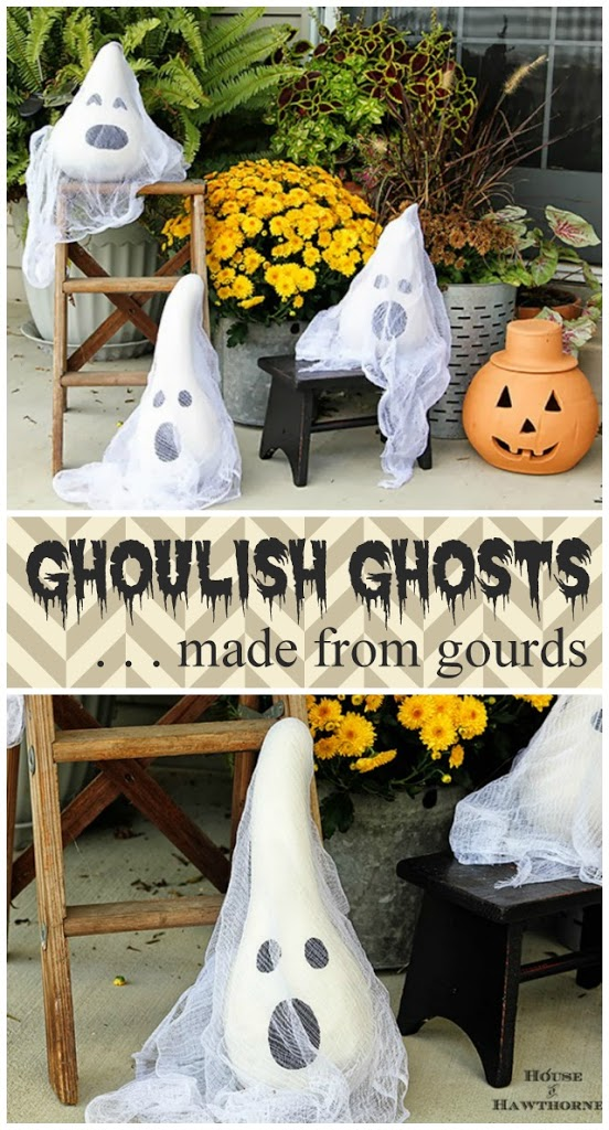 DIY Ghosts Made From Gourds.