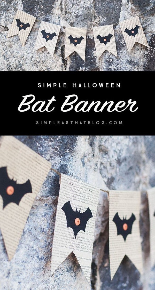 Bat Book Page Banner For Halloween.