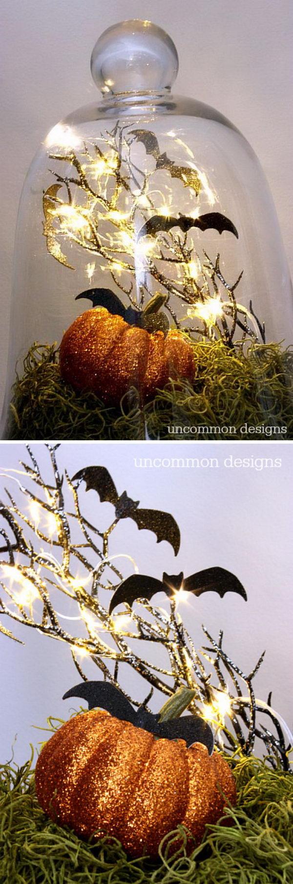 Halloween Bats in a Glass Cloche.