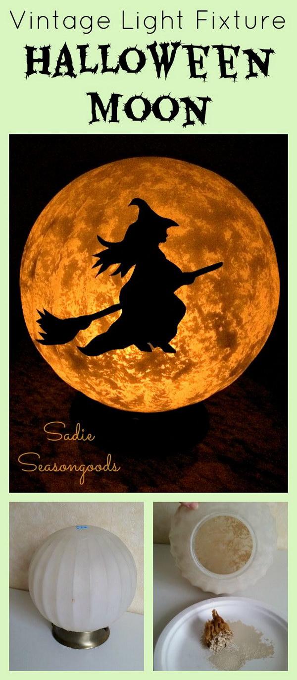 DIY Spooky Moon Light Fixture.
