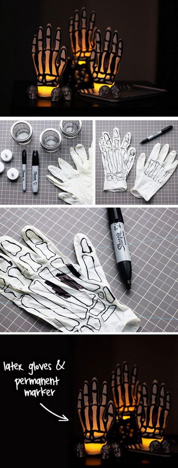 DIY Glowing Skeleton Hands.