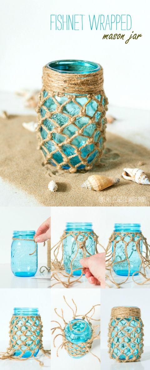 Fishnet Wrapped Mason Blue Mason Jar.