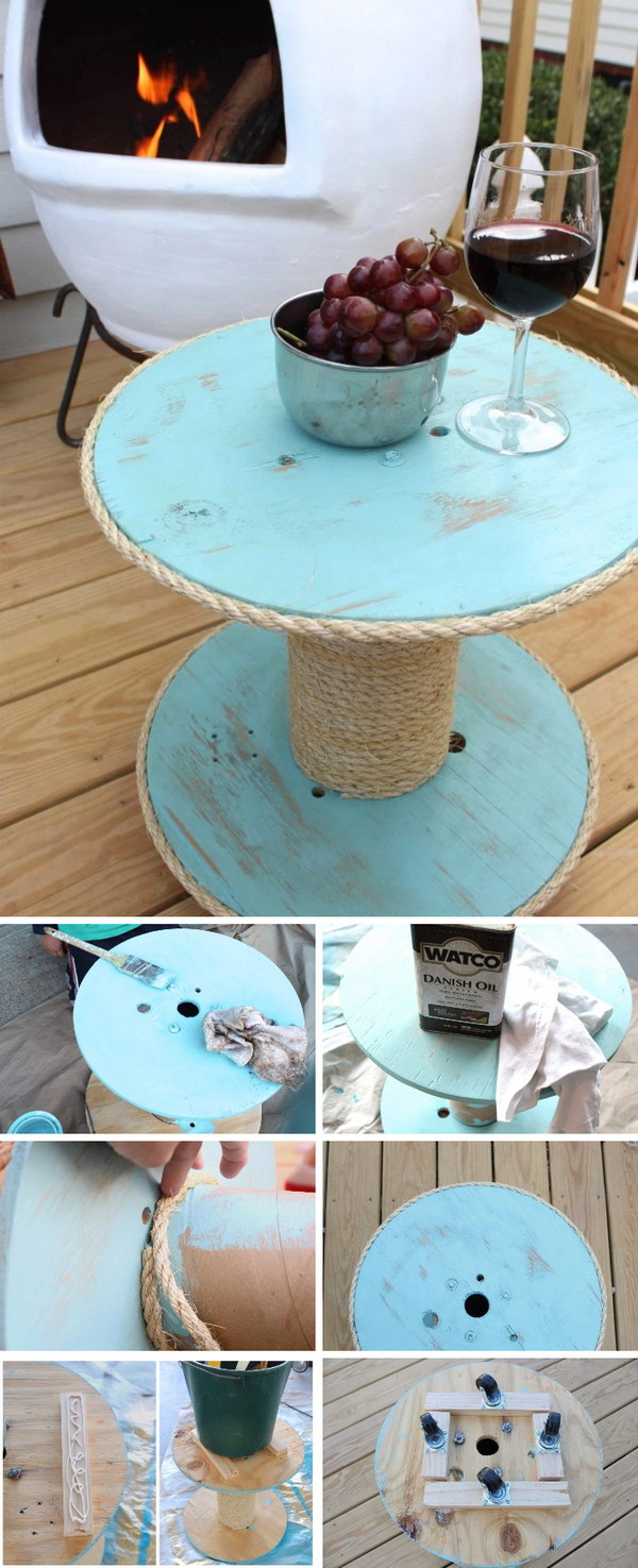 Under $12 DIY Nautical Spool Side Table.