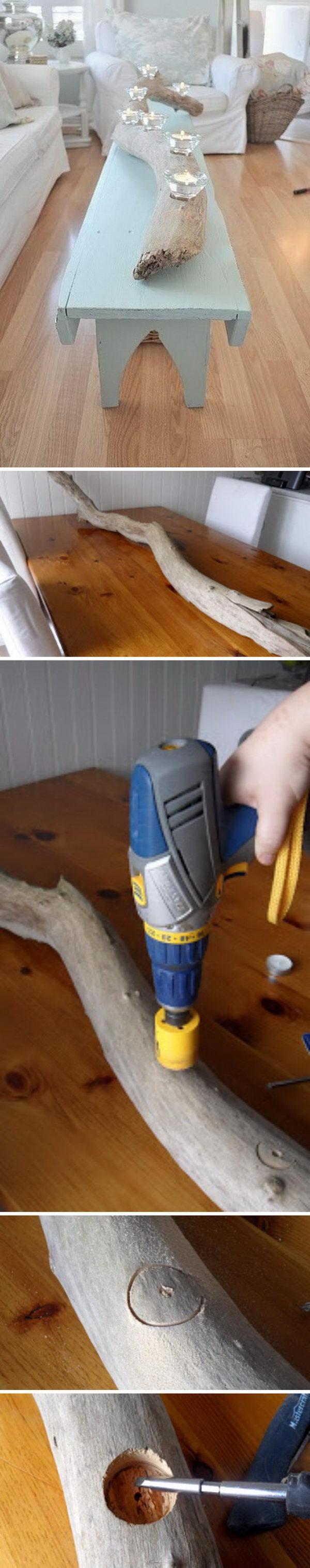 DIY Driftwood Candle Holder.