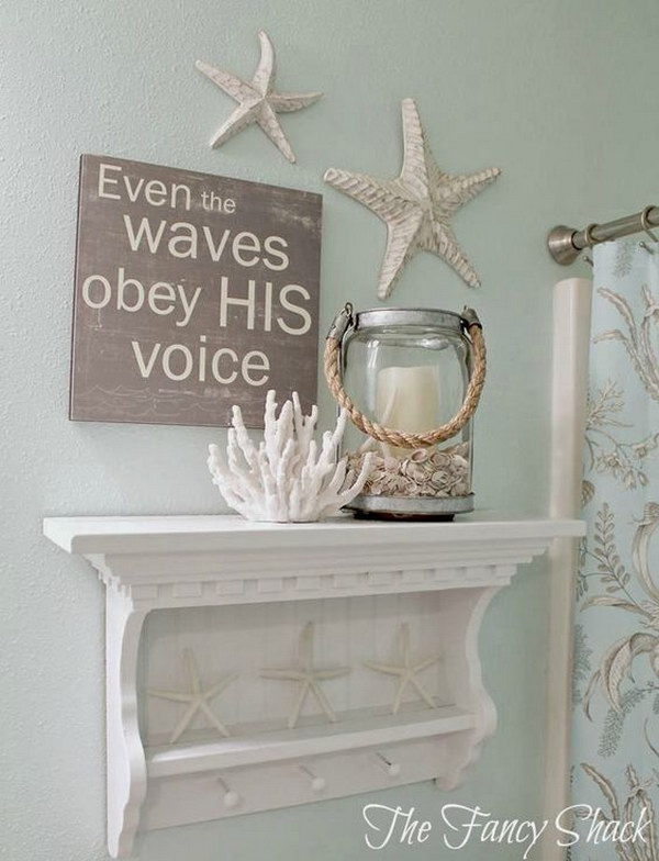 DIY Coastal Bathroom Shelve.