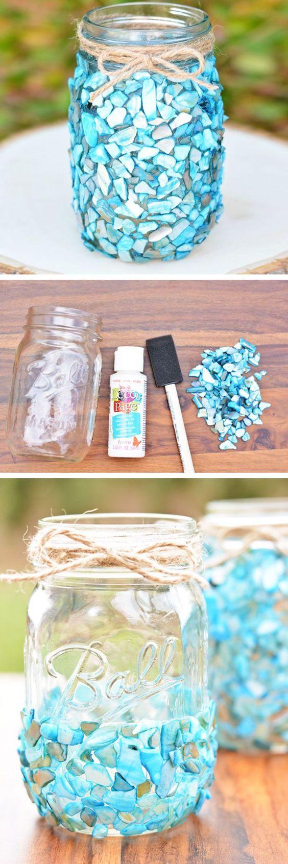 Beach Theme Sea Glass Mason Jars.