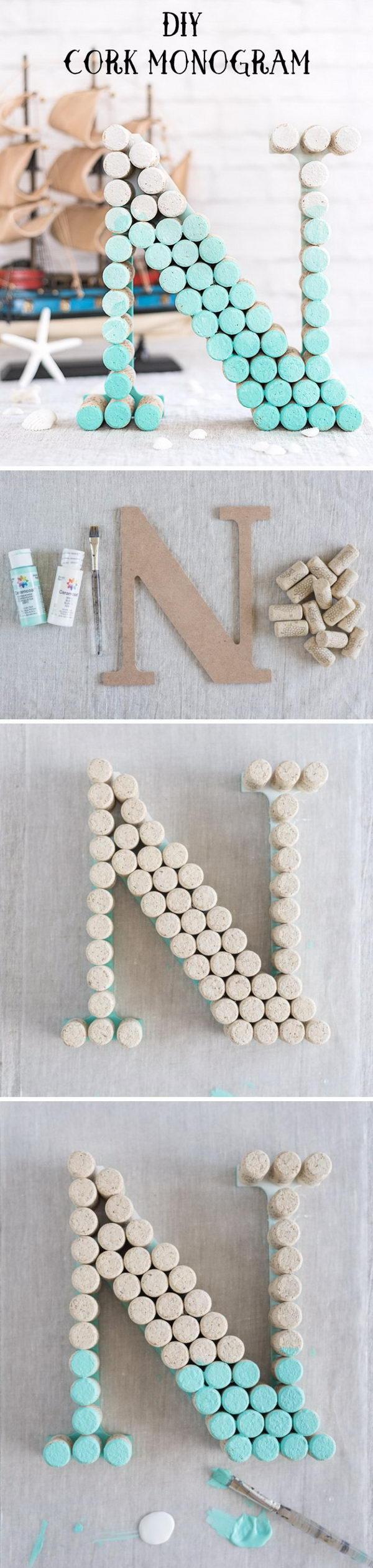 DIY Ombre Wine Cork Monogram Letter.