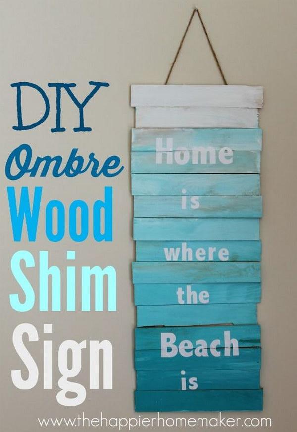 DIY Ombre Wood Shim Sign.
