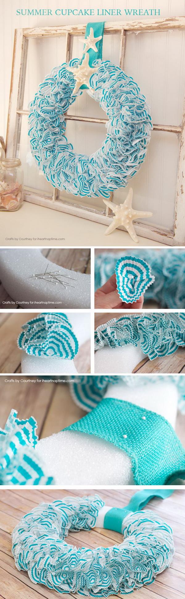 DIY Nautical Wreath With Cupcake Liners And Seashells.
