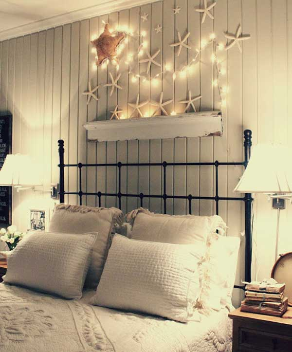 Beach Theme Over the Bed Decoration with Starfish and String Lights.