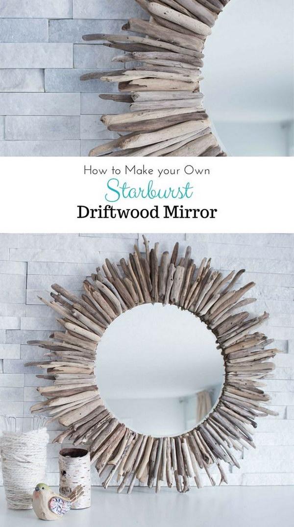 DIY Driftwood Round Mirror.