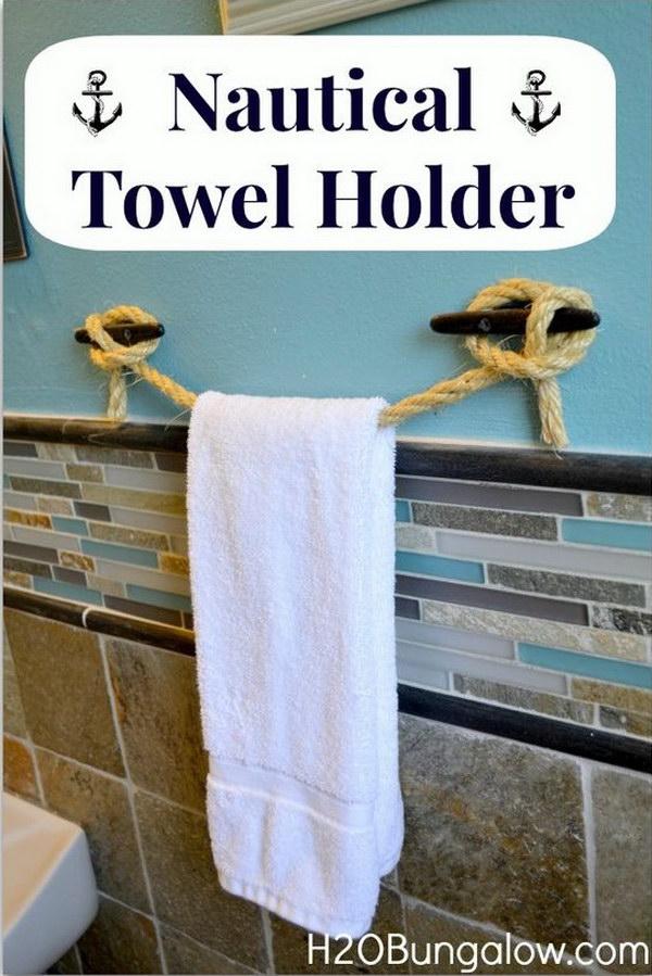 DIY Nautical Rope Towel Holder.