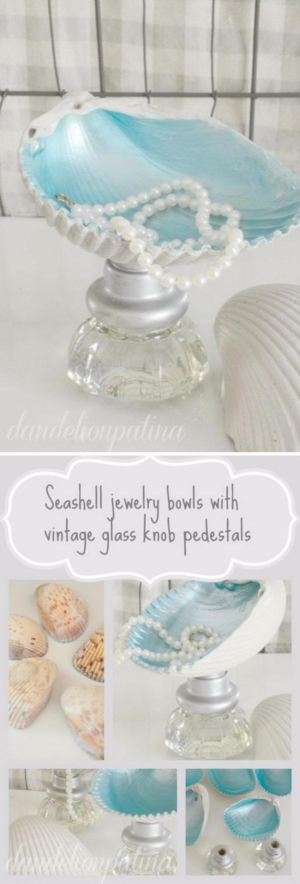Shell Jewelry Bowls & Glass Knob Pedestals.