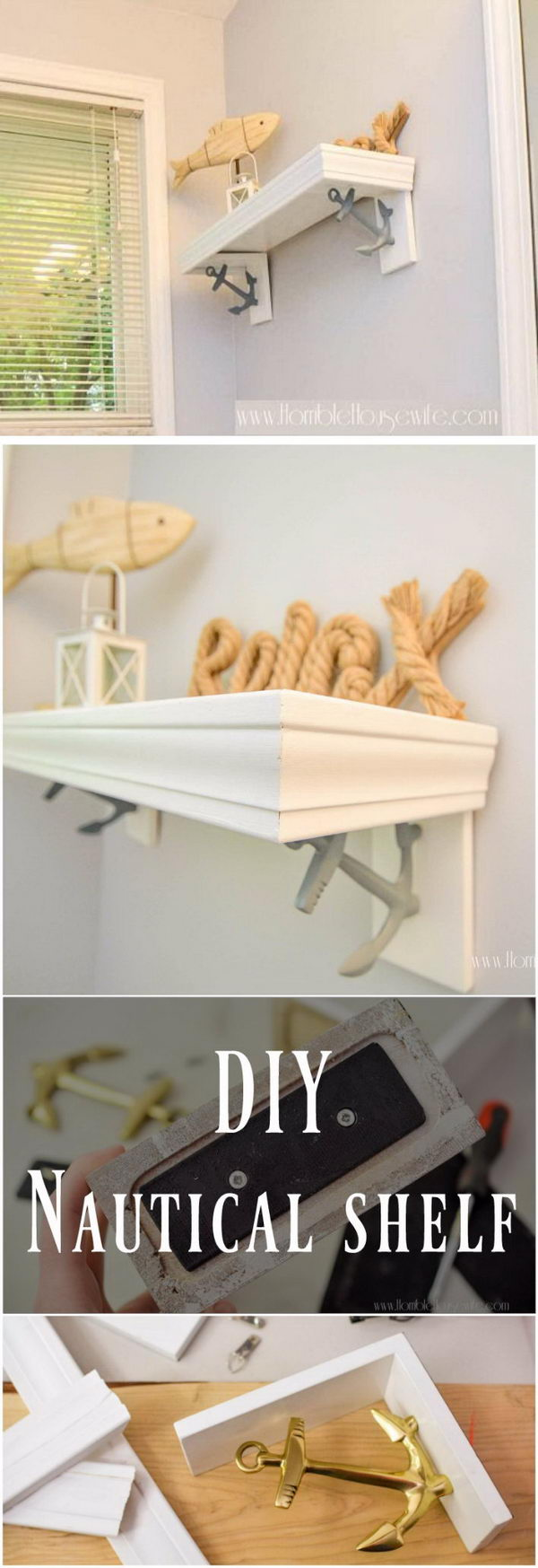 Nautical Bathroom Shelf Using Anchor Bookends.