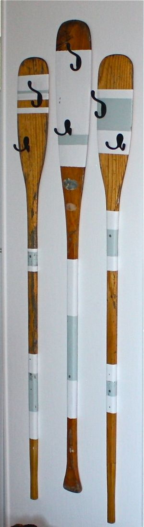 Upcycled Rowing Oars Coat Hangers.