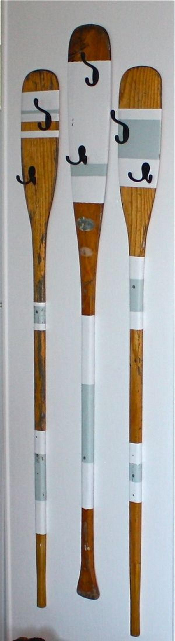 Upcycled Rowing Oars Coat Hangers.
