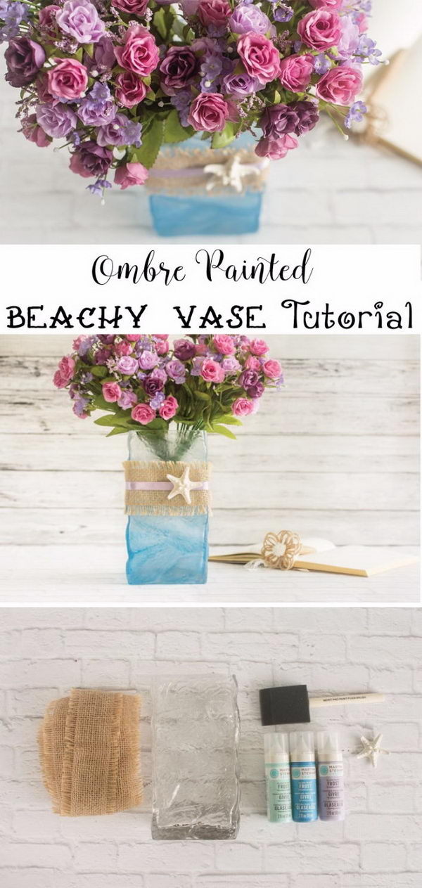 DIY Ombre Painted Beachy Vase.