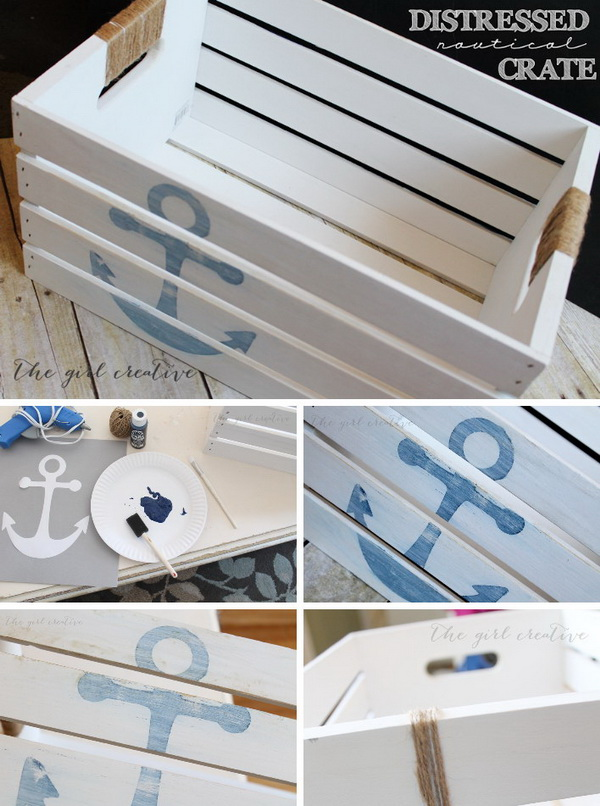 DIY Distressed Nautical Crate Tutorial.