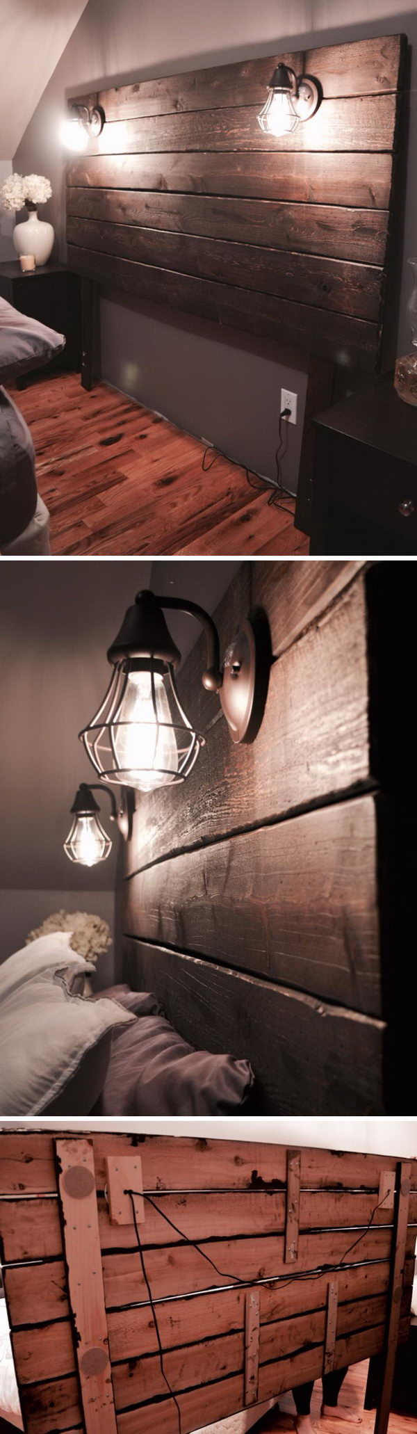 Rustic Wooden Headboard With Lights.